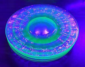 """Set of 5 Vintage Uranium Vaseline Glass Desert / Bread Butter / Salad Plates 6"""""""