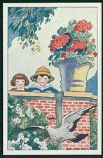 art Raynolt child girl boy with dove pigeon bird children original old 1920s pos
