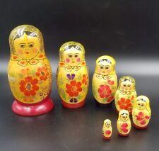 Set Of 7 Russian Nesting Dolls Babuskas Red Flowers *Blue Mark On Base