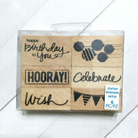 Celebrate Birthday Stamp Set 6 Wood Mounted Rubber Party Wish Balloon