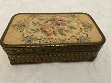 Vtg Deco JEWELRY BOX Rose Tapestry Lid Embossed Brass Sides & Feet Cedar Lined