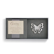 Alloy Giving Pin in Gift Box Butterfly Silver Hammered One Size Women's Zinc