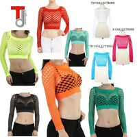 Fashion Women's Elastic Fishnet Long Sleeve Crop Top TD