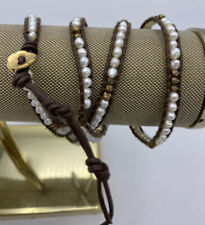 Chan Luu Brown Beaded Leather 4-Wrap Bracelet 925 Sterling Silver Button Closure