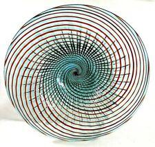 """Hand Blown Italian Murano Art Glass Swirl Bowl In Teal, Red Swirl 17 1/4"""" Dia."""