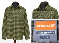 Mens Merrell Opti Wick Flannel Shirt Green Check Long Sleeve Hiking Size XL