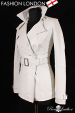 VENICE Ladies White Leather TRENCH COAT Belted Stylish Long Jacket Classic Coat