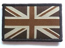 BRITISH UNION JACK CLOTH BADGE retro tan brown velcro patch jacket bag combats