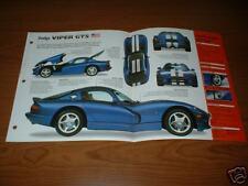 1998 DODGE VIPER GTS SPEC SHEET BROCHURE POSTER PRINT PHOTO 98 V10
