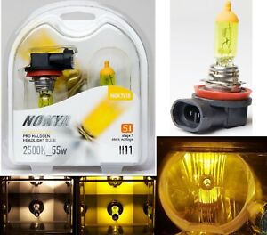 Nokya 2500K Yellow H11 Nok7618 55W Two Bulbs Head Light Low Beam Replacement OE