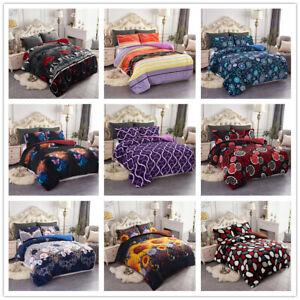 3 Pieces Sherpa Blanket Borrego Comforter Set Q/K/Cal King