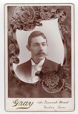 GRAY Boston Massachusetts MEMORIAL Cabinet Photo MAN Suit DEATH Morbid MACABRE
