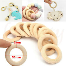 55mm Unfinished Natural Wooden Round Rings DIY Necklace Craft Jewellery