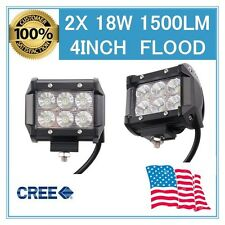 "2x18W 4"" Cree LED Work Light Bar FLOOD Beam Offroad 4WD UTE SUV Fog Driving Lamp"