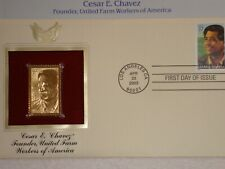 22K Gold 2003 Cesar Chavez Founder UFWA Gold ProofStamp Replica 1st DayCov w/Add