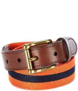 Polo Ralph Lauren Men's Collegiate Striped Leather-Trim Stretch Belt Size 36 NWT