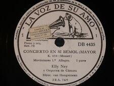 PIANO 3 x 78 rpm RECORDS VsA ELLY NEY Concierto Si Bemol Mayor K. 450 MOZART