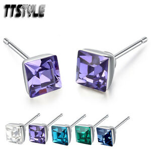 TTStyle 925 Sterling Silver 5mm Square Made withSwarovski Crystal Earrings Pair