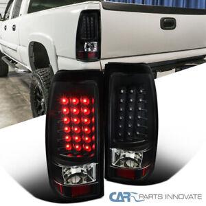 For 03-07 Chevy Silverado 04-07 GMC Sierra LED Black Tail Lights Rear Brake Lamp