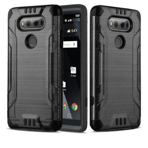 LG V20 Case, Metal Texture Dual Layer Shockproof Bumper Case