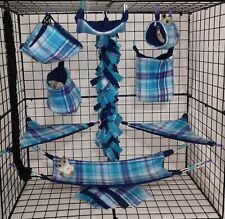 Plaid Blaine Turquoise*15 Pc Sugar Glider Cage set * Rat * double layer Fleece