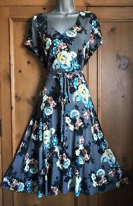 LAURA ASHLEY Grey Blue Jersey TEA Party DRESS SIZE 16 Vintage Wedding