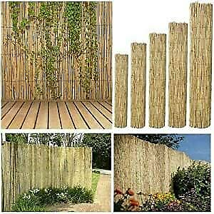 BISEN Natural Reed Screening  1.5 x 4 m Garden Fence Peeled Roll Screen Wind Sun