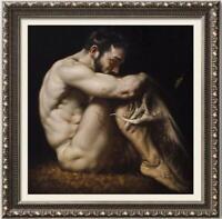 "Original Oil Painting female art  male nude on canvas 30""x30"""