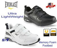 Sport Men's Leather strap hook & loop Athletic Shoe Black White Light Weight el
