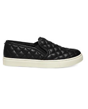 Steve Madden Ecentrcq Women Size 8.5 Shoes Black Quilted Slip On Sneakers Flats