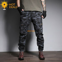 Men's Camouflage Multiple Pocket Jogger Casual Cargo Loose Work Pants Plus Size