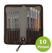 Pinseletui 10-tlg Pinseltasche Pinselset mit 4 x Borstenpinsel 6 x Haarpinsel