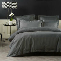 Linen House 1000 Thread Count Vaucluse Charcoal Quilt Cover Set | 100% Cotton
