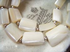 VINTAGE JEWELLERY REAL MOTHER OF PEARL GEOMETRIC BEAD NECKLACE SPIRITUAL HEALING