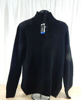 Men's Buffalo 1/4 Zip Long Sleeve Sweater Jacket Mock Turtleneck Black Navy Grey