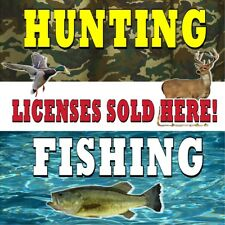 Hunting Fishing License Sold Here (Choose Your Size) Perf Window Vinyl Decal New