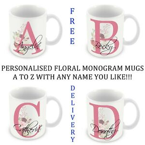 PERSONALISED MONOGRAM FLORAL LETTER WITH ANY NAME MUG PRESENT GIFT 11OZ/6OZ
