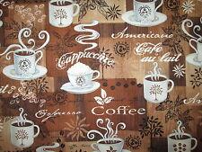 COFFEE CUPS DRINKS SPECIALTY ESPRESSO AMERICANO BROWN COTTON FABRIC BTHY