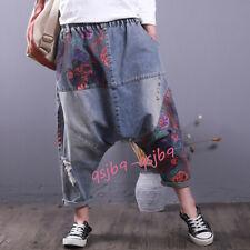 Casual Women's Denim Floral Drop Crotch Jeans Baggy Pants Loose Cropped Trousers