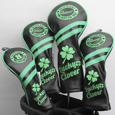 New Black Lucky Clover Premium Pu Leather Head Cover Set 4 Covers D,3,5 & Hybrid