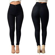 Women Ladies High Waist Elastic Stretchy Skinny Denim Jeans Jegging Pencil Pants