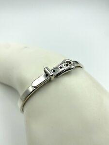 Sterling Silver T Design Buckle Clasp Hinged Bangle Bracelet 925
