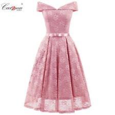 Lace Wedding A-line Formal Dress Off Shoulder Short Bridesmaid Women Dresses sz/