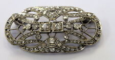 Art Deco Style Pin / Brooch in Sterling Silver Approx 3.00 Ct.Genuine Diamonds.