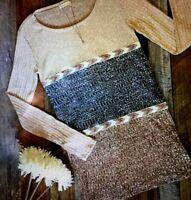 Flamingo Urban Tunic Top Southwest Pattern Brown Gray Sz Medium Long Sleeve New