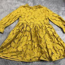 Genuine Kids Oshkosh Toddler Girls 5T Mustard Yellow Lace Bell Sleeve Dress
