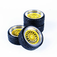 RC Flat Drift Tire Wheel Rim 4Pcs Set For HSP HPI 1:10 On-Road Car 12mm Hex