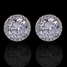 Women's 18K White Gold Plated Crystal Zircon Inlaid Ear Stud Earrings Jewelry BE
