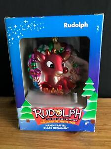 Rudolph The Red Nosed Reindeer Brass Key Collection Hand Crafted Glass Ornament