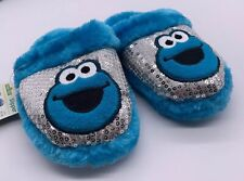 NWT Sesame Street Cookie Monster Sequin Unisex Child Size 11/12 Slippers  Blue